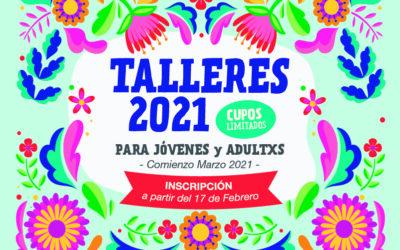 ¡Llegó la grilla 2021 de talleres para jóvenes y adultxs 2021!
